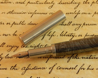 Provincial 303 Stainless Steel Fountain Pen with White Mokume Metal - Free Shipping #ME115