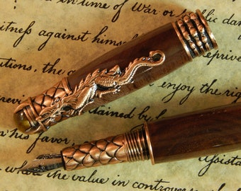 Dragon Fountain Pen with Walnut Wood - Free Shipping #FP10178