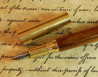Provincial C3604 Brass Fountain Pen with Authentic Lignum Vitae Wood - Free Shipping #FP10303
