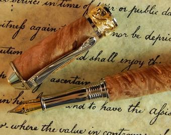 Nouveau Sceptre Fountain Pen with Maple Burl - Free Shipping #FP10190