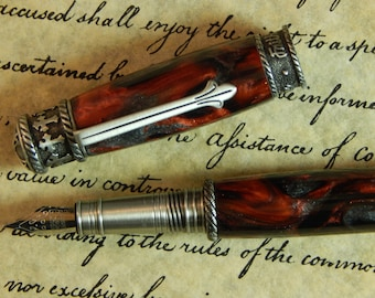 Faith Hope Love Fountain Pen Crafted From Scarlet Fusion Acrylic - Free Shipping #FP10257