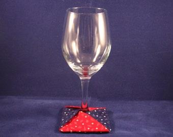 Stemware Slipper / Coaster - Red, White and Blue Stars Triangle Design (Set of 4)