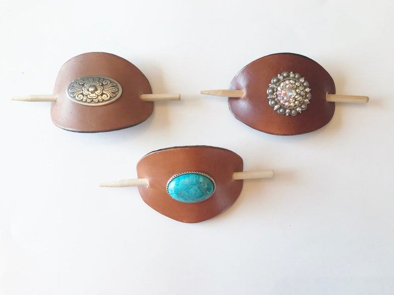 hair clips rhinestones Custom made large leather hair barrettes with interchangeable screw back conchos rodeo turquoise women bling