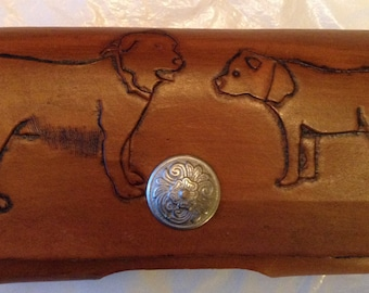 Smart phone leather case with hand tooled dogs(Made in Montana)custom made