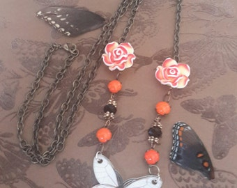 All Aflutter - Whimsical Butterfly and Rose Pendant Necklace