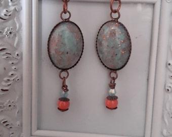 Stardust - Blue Copper Flecked Cabochon Dangle Earrings