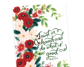 Greeting Card -Trust in Jehovah and Do What is Good Psalm 37:3, Jehovah's Witnesses, JW Greeting Card, JW Gift, Christian Card, Baptism Card