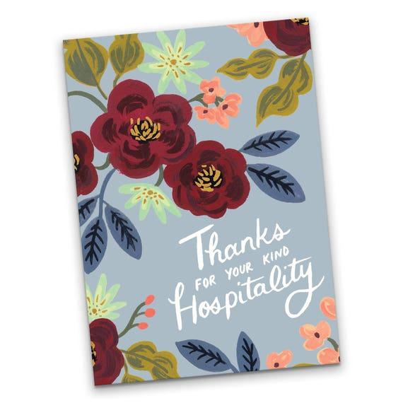 Greeting card thanks for your kind hospitality thank you etsy image 0 m4hsunfo