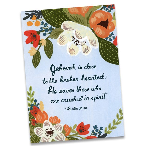 Greeting card jehovah is close to the broken hearted etsy image 0 m4hsunfo