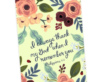 Greeting Card - I Always Thank My God When I remember You Philippians 1:3, Jehovah's Witnesses, JW Greeting Card, JW Gift, Friendship