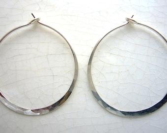 """whoops! ...silver 1"""" hoop earrings, hammered sterling silver crescent hoop earrings"""