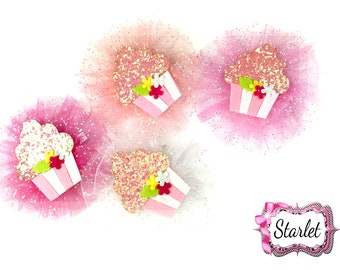 Cupcake Girl's Bow, Hair Accessories, Baby Bow, Girls Bow.  Tulle Bow on Clip - Pick Your Color!