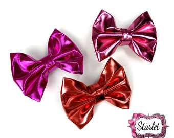 "3 1/2"" Synthetic Leather Bow with Clip, Pick Color, Red Bow, Rose Pink Bow, Stiff Leather Bow"