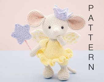 Amigurumi crochet cute fairy princess mouse - Lucy the mouse PATTERN ONLY (English)