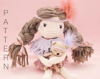 Amigurumi crochet doll pattern - Scarlett crochet doll PATTERN ONLY (English)