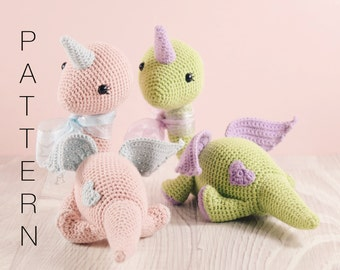 Amigurumi crochet doll pattern - Daisy the Dinocorn PATTERN ONLY (English)
