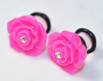 PAIR 0g/8mm Flower Plugs, Pink Rose No Flare Ear Gauges, Acrylic Body Piercing Jewelry For Stretched Ears, Girly Cute Wedding Work Hiders