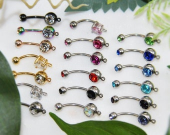 Add-A-Charm Navel Ring, 1/5/10 pcs 14g 316L Surgical Steel Gold/Rose/Black, DiY Belly Button Jewelry Craft Supply Lot, AB Lavender Any Color
