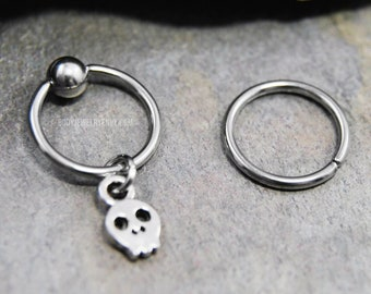 Tiny Skull Cartilage Jewelry, 316L Stainless Surgical Steel 20g/18g/16g/14g 6mm-19mm Captive Bead Ring CBR or Bendable Hoop, Silver Charm