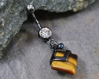 """Tiger Eye Stone Dangle Belly Ring, Black Wire-Wrapped Charm, Body Piercing Jewelry, 14g 3/8"""" 10mm, 316L Stainless Surgical Steel Navel Curve"""