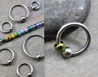 316L Stainless Surgical Steel Captive Bead Ring - 92 Colors - Choose Size 20g/18g/16g/14g 6mm-19mm - Boho Beaded Nose Cartilage Belly Hoop