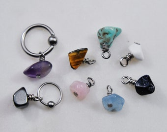 Gemstone Chip Belly Ring or Cartilage Hoop, Choose 14g 16g 18g 20g 6mm-19mm, 316L Surgical Steel Silver Tragus Earring Conch Helix Navel Bar