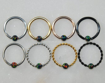 BLACK OPAL Captive Bead Ring - Surgical Steel/Titanium - Choose Size 16g or 14g Color Silver/Gold/Rose Gold/Black Style Plain/Braided CBR
