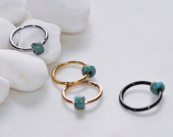 92 Colors ~ Beaded Piercing Hoop, Bendable 20g/18g/16g/14g Silver/Gold/Rose Gold/Black 316L Surgical Steel Cartilage Tragus Septum Nose Ring