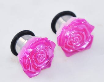 PAIR 00g/10mm Flower Plugs, Pink Rose Single Flare Ear Gauges, 316L Stainless Surgical Steel, For Stretched Ears, Girly Cute Wedding Hiders