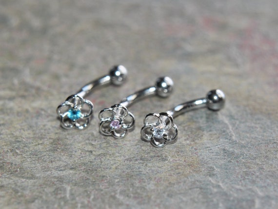 """Pair Eyebrow Ring Curved Barbell 16g  5//16/"""" Dark Pink 316L Surgical Steel CZ Gem"""