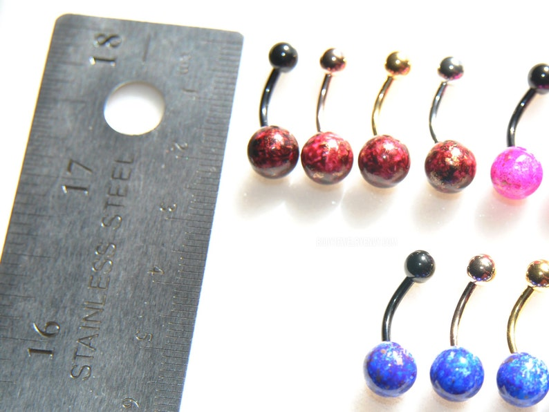 14g 316L Surgical Steel Choose Colors SilverGoldRose GoldBlack RedPinkGreenBlue Belly Button Piercing Navel Bar MARBLE Belly Ring