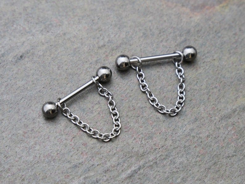 Choose Size Chain Nipple Barbell 12g 14g 16g 10mm11mm12mm14mm16mm19mm Single or Pair Unisex 316L Stainless Surgical Steel Silver