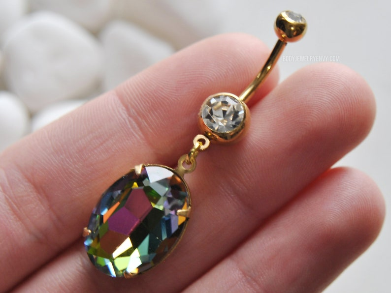 Large Vitrail Crystal Dangle Belly Ring Clear Double CZ Gem 14g 11mm Gold 316L Stainless Surgical Steel Rainbow Glass Bridal Belly Ring