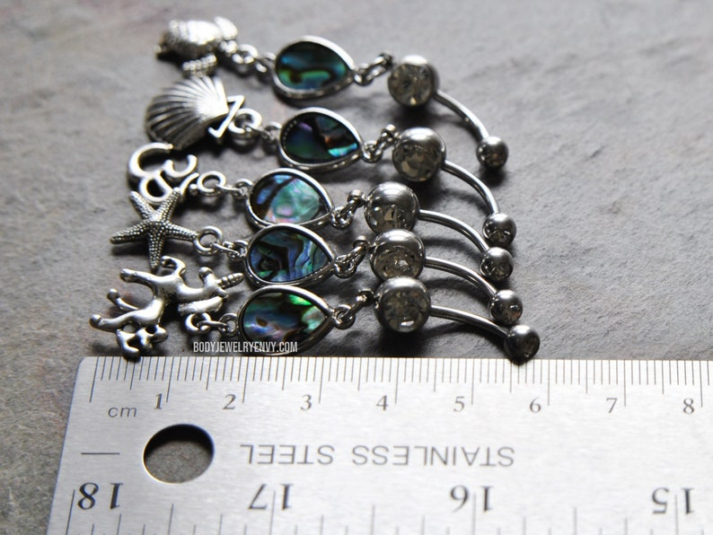 Abalone Shell Sea Turtle Dangle Belly Ring Silver 316L Stainless Surgical Steel Navel Curve 11mm 14 gauge 716 inch Long Dangle Gem