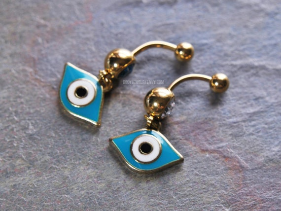 Egyptian Evil Eye Belly Ring 14g 10mm Yellow Gold Ip 316l Stainless Surgical Steel Choose Clear Blue Gem Crystal Dangle Enamel Charm Navel
