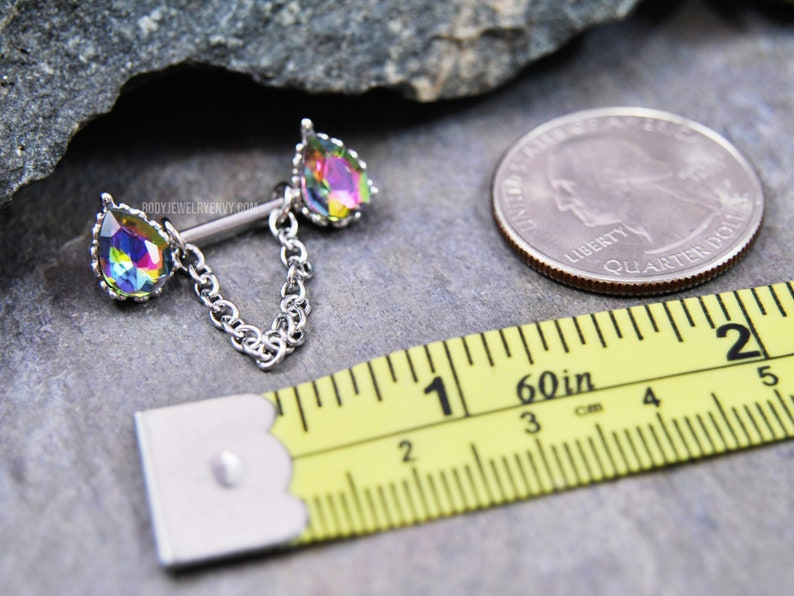 Single or Matched Pair Medium Black AB 316L Stainless Surgical Steel Teardrop Vitrail Crystal Nipple Barbell 14 Gauge 12mm Dangle Chain