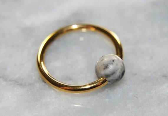 White Howlite Captive Bead Ring-14g-5//16 inch-8mm-Ear Piercing Hoop Body Jewelry