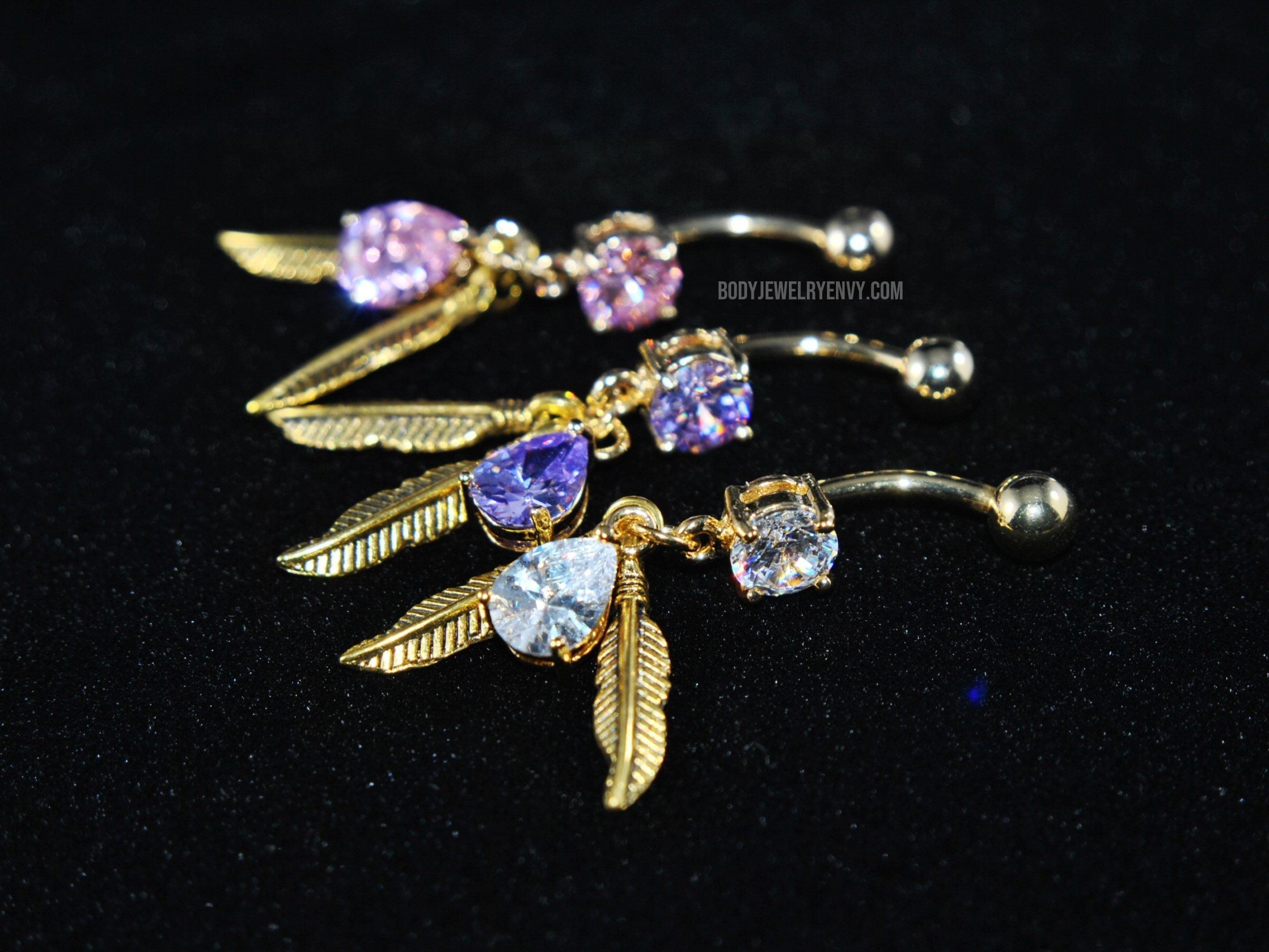 1.6mm Gold Colored Sparkle Prong Gem Industrial Barbell - Sold Individually 14G