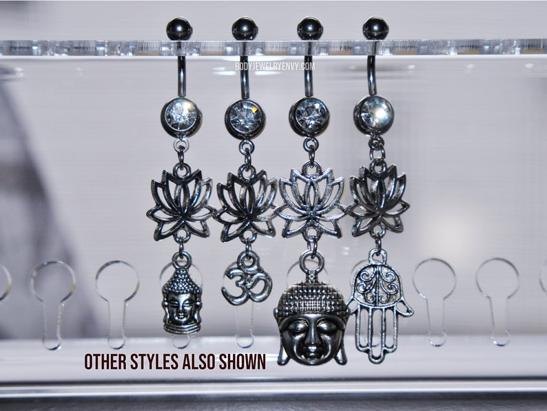 14 gauge 716 inch Long Dangle Silver 316L Stainless Surgical Steel Navel Curve Lotus Hamsa Hand Dangle Belly Ring Gem Belly Ring 11mm