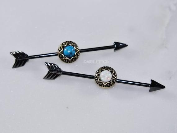 7b6ba08592d2 Black Antique Sun Arrow Industrial Barbell Turquoise Opal Gem