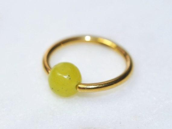 9K Yellow Aqua Jade Bead Nose Hoop Ring