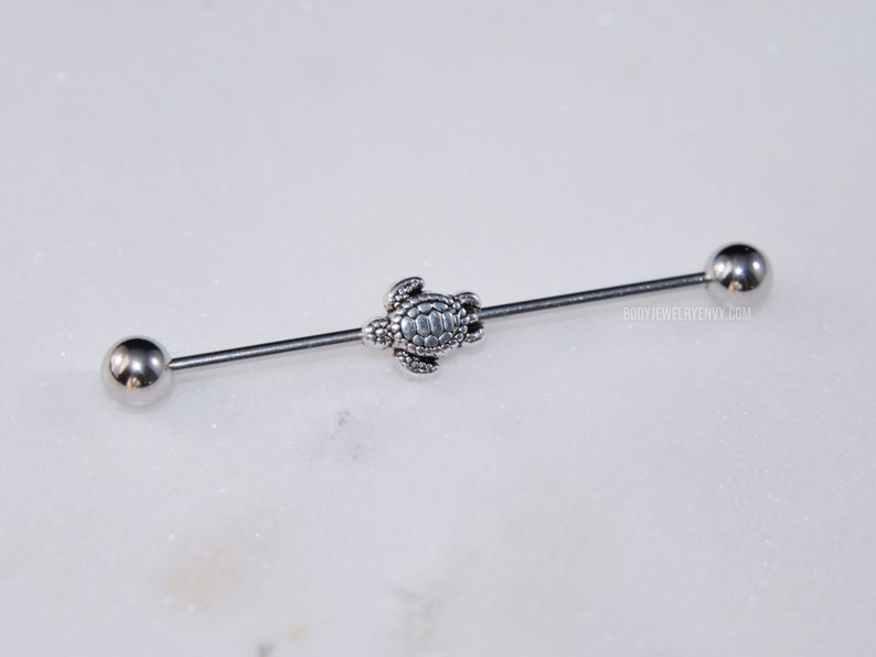 16g Silver Sea Turtle Industrial Bar Barbell Ear Cartilage Scaffold Piercing Beach Jewelry 316L Stainless Surgical Steel 30mm 35mm 38mm