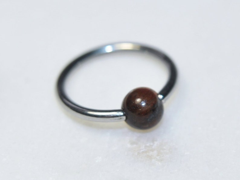 3db970b3eff Red Tiger Eye Gemstone Captive Bead Ring in Steel, 16g and 14g, Cartilage  Navel Septum Nose Tragus, Piercing Jewelry