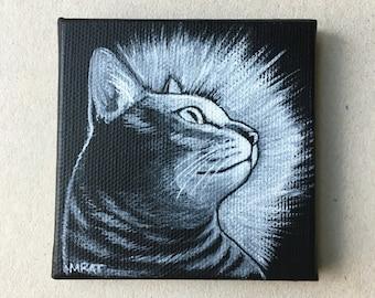 Little tabby cat painting monochrome