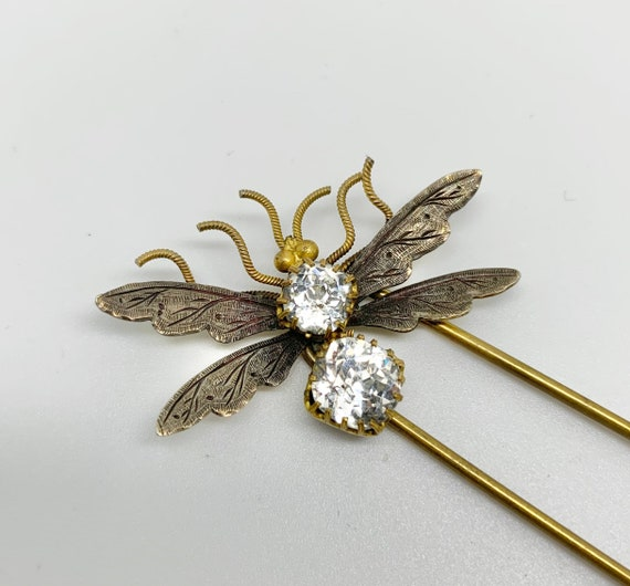 Victorian Bee Hairpin - Old Cut Paste & Silver - B