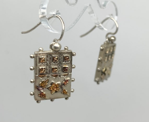 Victorian Aesthetic Movement Earrings - Silver & G