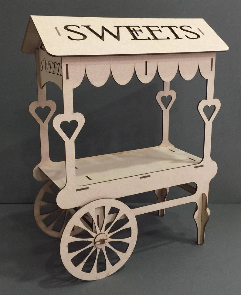 Y74 Mdf Sweets Candy Cart Sweet Display Stand Chocolate Wooden Table Top Centre Piece Wedding Engagement Party Candy