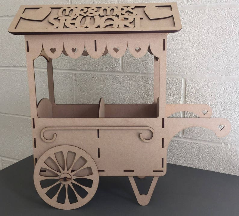 Y42 Mdf Personalised Mr Mrs Sweet Candy Cart Display Stand Chocolate Wooden Table Top Centre Piece Wedding Engagement Party Candy Cart