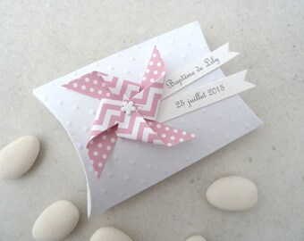 Box dragees windmill + baptism wind dots chevron - gift for birthday guests, baptism, wedding favor pillow box
