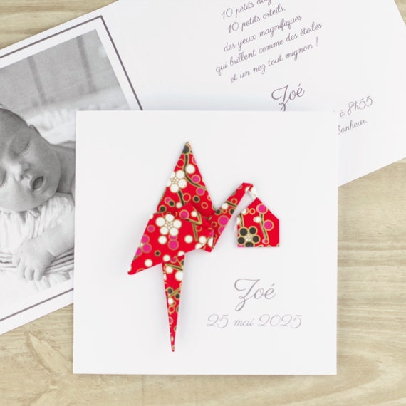 Girl Boy Origami Birth Announcement Card Double Red And Etsy
